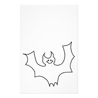 Smiling Bat. Black line illustration. Flyer