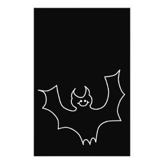 Smiling Bat. White line illustration. Full Color Flyer