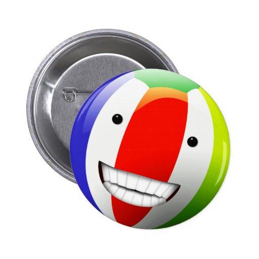 Smiling Beach Ball Happy Face Pinback Button