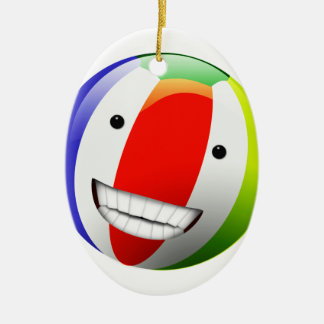 Smiling Beach Ball Happy Face Ceramic Ornament