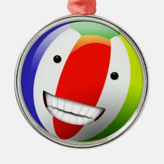 Smiling Beach Ball Happy Face Round Metal Christmas Ornament