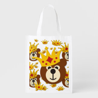 Smiling Bear With Crown + your background color Reusable Grocery Bags