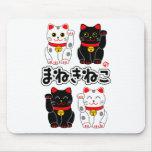Smiling Beckoning cat - Japanese Manekineko Mouse Pad