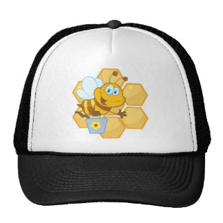 Smiling bee hold a bucket trucker hat