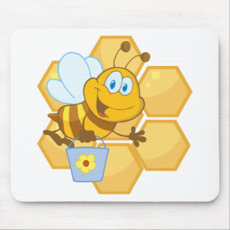 Smiling bee hold a bucket mouse pad