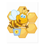 Smiling bee hold a bucket post cards