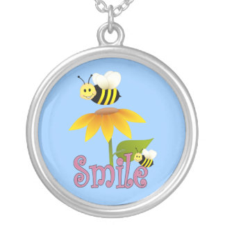 Smiling Bee Round Pendant Necklace