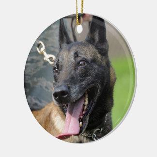 Smiling Belgian Malinois Dog Ceramic Ornament