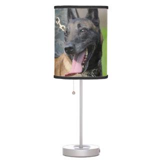 Smiling Belgian Malinois Dog Desk Lamp