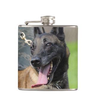 Smiling Belgian Malinois Dog Hip Flask