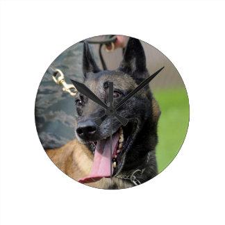 Smiling Belgian Malinois Dog Round Clock