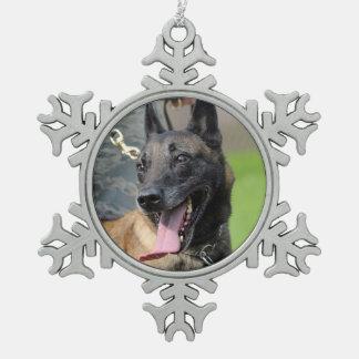 Smiling Belgian Malinois Dog Snowflake Pewter Christmas Ornament