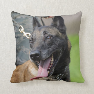 Smiling Belgian Malinois Dog Throw Pillow