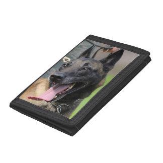 Smiling Belgian Malinois Dog Tri-fold Wallet