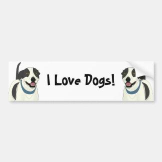 Smiling Black and White Dog - Line Art Bumper Sticker