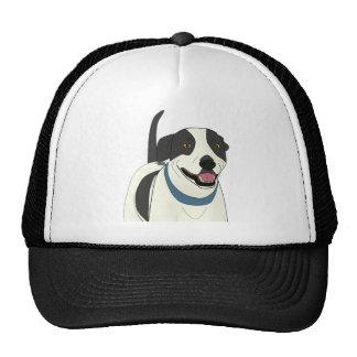 Smiling Black and White Dog - Line Art Mesh Hat