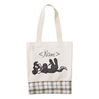 Smiling Black Puppy Dog with Blaze Roll Over Zazzle HEART Tote Bag