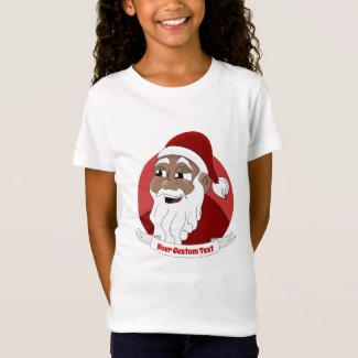 Smiling black Santa Claus cartoon T-Shirt