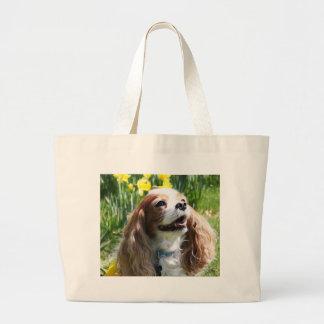 Smiling Blenheim Cavalier King Charles Spaniel Canvas Bag