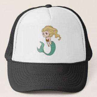 Smiling Blonde Cartoon Mermaid Trucker Hat