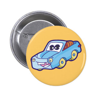 Smiling Blue Car Tshirts and Gifts Pinback Button