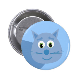 Smiling blue cartoon cat button / badge