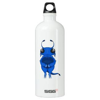 Smiling Blue CartoonAlien with Big Eyes & Antennae Aluminum Water Bottle