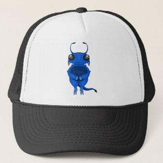 Smiling Blue CartoonAlien with Big Eyes & Antennae Trucker Hat