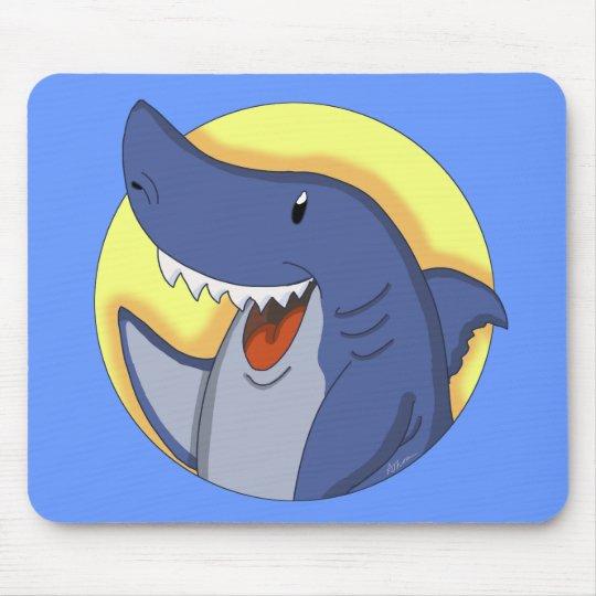 Smiling Blue Shark Cartoon Mouse Pad
