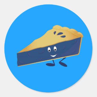 Smiling blueberry pie slice classic round sticker