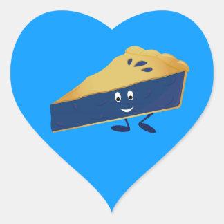 Smiling blueberry pie slice heart sticker