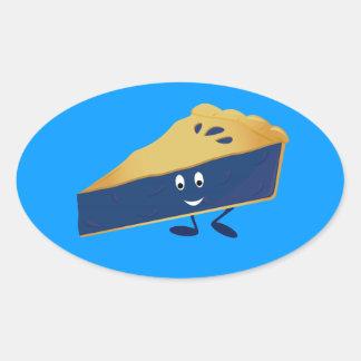 Smiling blueberry pie slice oval sticker