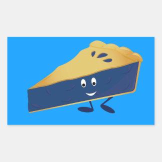 Smiling blueberry pie slice rectangular sticker