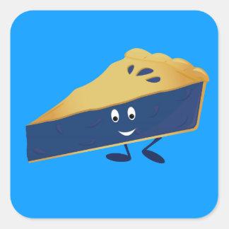 Smiling blueberry pie slice square sticker