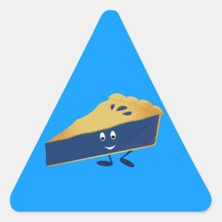 Smiling blueberry pie slice triangle sticker