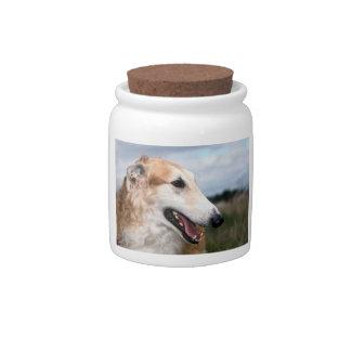 Smiling Borzoi Dog Treat Candy Jar