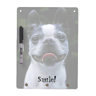 Smiling Boston Terrier Dry Erase Board