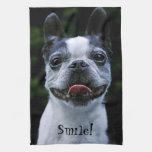 Smiling Boston Terrier Kitchen Towels