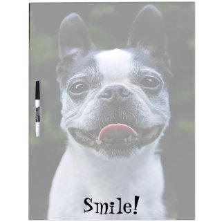 Smiling Boston Terrier Large Dry Erase Board