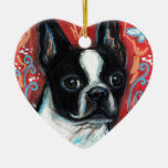 Smiling Boston Terrier Double-Sided Heart Ceramic Christmas Ornament
