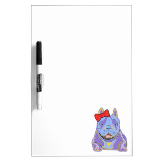 Smiling Boston Terrier Red Bow Dry-Erase Board