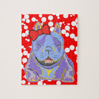 Smiling Boston Terrier Red Bow Jigsaw Puzzle