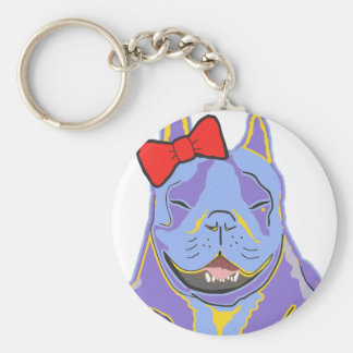 Smiling Boston Terrier Red Bow Keychain