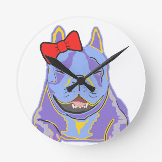 Smiling Boston Terrier Red Bow Round Clock