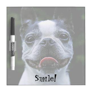 Smiling Boston Terrier Square Dry Erase Board