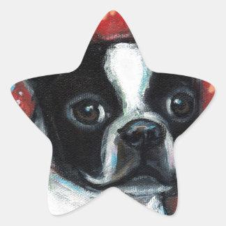 Smiling Boston Terrier Star Sticker