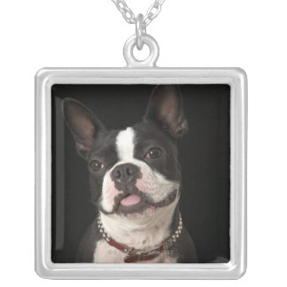 Smiling Boston terrier with collar Square Pendant Necklace