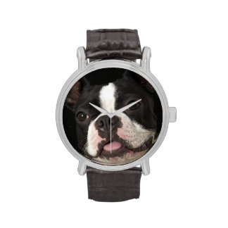 Smiling Boston terrier with collar Wristwatches