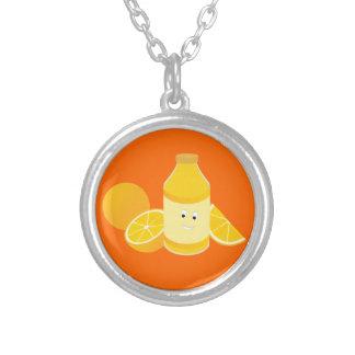 Smiling bottle of orange juice with oranges round pendant necklace