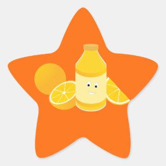 Smiling bottle of orange juice with oranges star sticker